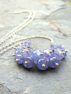 Tanzanite Necklace Beaded Gemstone Necklace by AeridesDesigns