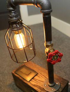 Industrial Lamp - Edison Bulb - Black Iron Pipe - Phone & Tablet Charging USB Ports - Oak Base - Metal Lamp Cage