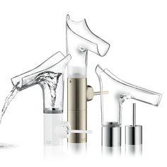 Badarmaturen Glas Edelstahl Kunststoff Wasserhahn