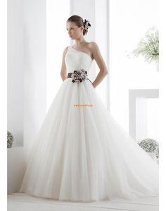 1-Schulter Tülle 3/4 Arm Brautkleider 2014