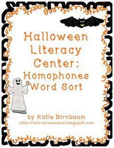 Second Grade Freebies: Halloween Literacy Center: Homophones Word Sort
