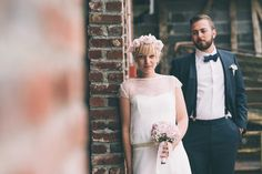 Bride & Groom Portrait | Bride in a Gilles Zimmer Wedding Dress | Pink Rose Flower Crown | Rustic Barn Wedding | Destination France Wedding | Images From Julien Navarre | http://www.rockmywedding.co.uk/marie-robin/