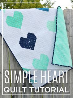 Simple Heart Quilt Tutorial and it's FREE! So great for a baby boy quilt! #cottonandsteel #babyboyquilt