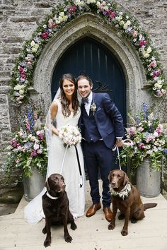 Country Cornish Pastel Beach Wedding Flowers Church Arch Dog Pets Country Cornish Pastel Beach Wedding www. Church Wedding Flowers, Church Wedding Decorations, Arch Wedding, Wedding Bells, Wedding Dresses, Dog Wedding, Dream Wedding, Arch Flowers, Wedding Pictures