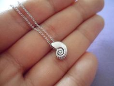 Ariel Voice - seashell antique silver necklace - minimal dainty jewelry -Reminds me of a mermaids necklace