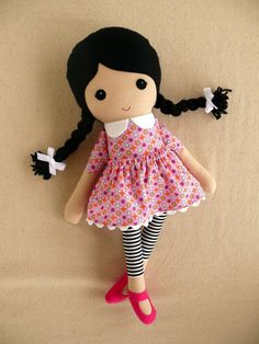 Fabric Doll Rag Doll Black Haired Girl in Pink by rovingovine....(cuteness!)....