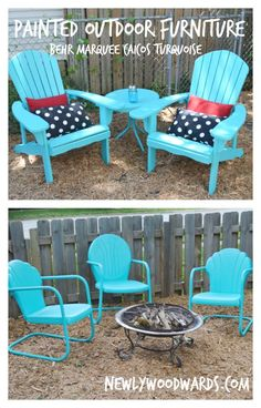 how to paint patio furniture with chalk paint pinterest iron rh pinterest com turquoise patio chair cushions turquoise patio chair cushions