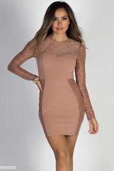 36b7cee70819 Long Sleeve Bodycon Latte Sheath Dress with Sheer Lattice Mesh Cut Outs  Beige Dresses, Trendy