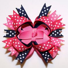 """2.5"""" Mini M2M Carter's Hot Pink, Bubblegum Pink and Navy Blue Polka Dots Stacked Hair Bow"""