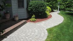 paver patio landing | Rinox 'Dakota' & 'Prado' pavers w/ 'Legno' edging for ...