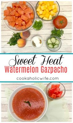 Sweet Heat Watermelon Gazpacho - Cookaholic Wife Mint Salad, Watermelon Salad, What Is Gazpacho, Chilled Soup, Spicy Soup, Cooking Challenge, Stale Bread, Chaat