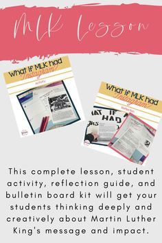Looking for an engaging and meaningful lessons to teach your middle school or high school secondary ELA students about Martin Luther King? This complete lesson, student activity, reflection guide, and bulletin board kit will get your students thinking deeply and creatively about Martin Luther King's message and impact. Digital, Printable, and Editable! Differentiated to include two levels of the student Instagram activity sheet! Middle School Ela, Middle School Teachers, High School Students, 8th Grade Ela, Ap Language, Ap English, Teaching Strategies, Martin Luther King, Bulletin Board