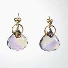 Ametrine, Tourmaline, and Asymmetrical Gold Loop Drop Earrings - 1""