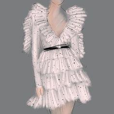 #drawing #dress #color #gradient #artwork #sketch #illustration #fashion #design #graphic #beauty #glitter #grey #dots #digitalart
