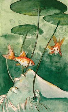 SALE+6x10+Fishes+Wishes+Watercolour+Gouache+by+bumblebooHandmades,+$8.00