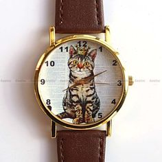 Lovely Cat Wearing Crown Genuine Brown Leather Watch | eBay