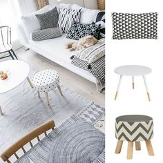 #GettheLook with @thewarehousenz and  1. Habito Cushion Triangle Charcoal/White $30 2. Living & Co Table Paint Dipped White $35 3. Living & Co Fabric Ottoman $20 #thewarehousenzhacks #furniture #NewZealand  #thewarehousenz #interiors #house #styling #style #home #decor #shopthetrend Prices listed to the best of my ability and are NOT fixed by The Warehouse.  Photo by nohomewithoutyou.com
