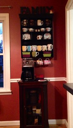 Small spaces :Coffee station with storage for supplies and mugs