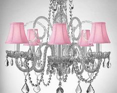 Empress Crystal (Tm) Chandelier Lighting With Pink Color Crystal And Pink Shades Swag Plug In-Chandelier W/ Feet Of Hanging Chain And Wire - Shades Plug In Chandelier, Crystal Chandelier Lighting, Rectangle Chandelier, Chandelier Shades, Crystal Candelabra, Pendant Lights, Crystal Lamps, Hanging Lamps, Gallery Lighting
