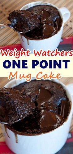 ONE POINT MUG CAKE!WW POINT: 1 This chocolate mug cake recipe has no eggs and can be made for one or two (if you like to share). It is one of the easiest dessert recipes youll ever make and youll never make another mug cake . Weight Watcher Desserts, Weight Watchers Snacks, Plan Weight Watchers, Weight Watcher Mug Cake, Weight Loss, Weight Watcher Breakfast, Weight Watchers Cupcakes, Weight Watchers Meatloaf, Cake