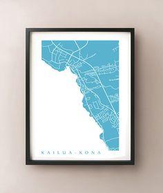 Kailua-Kona Map Print by CartoCreative on Etsy