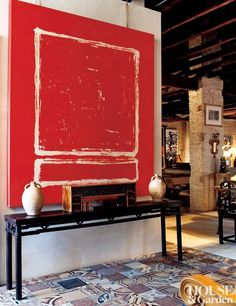 Love this big bold art above the Chinese console table