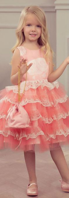 JUNONA Girls Designer Pink Tulle & Satin Party Dress. Love this luxurious dress by Junona with pretty layers of white lace and pink tulle on a pink floral satin base.. Perfect vintage style party dress for a little princess at any special occasion or wedding. Pretty Style for for stylish kid, tween and teen girls.  #kidsfashion #fashionkids #girlsdresses #childrensclothing #girlsclothes #girlsclothing #girlsfashion #flowergirl