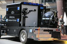 A Boston Police Department bomb squad vehicle sat on Huntington Avenue today.