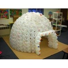 How to Build a Milk Jug Igloo - How cool is this? Great for a reading room or a time-out room. And its' recyclable! #InTheClassroom #ForTeachers #TooCoolForSchool #Classroom #Learning #Upcycle #recycling
