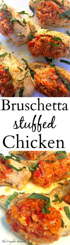 Bruschetta Stuffed Chicken ~ Chicken stuffed with blend of bread crumbs, tomatoes, cheese, and basil. ~ The Complete Savorist
