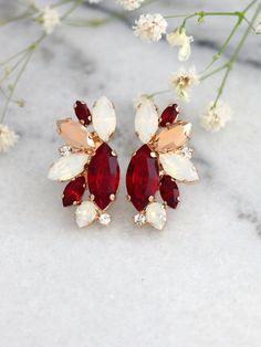 Ruby Earrings Bridal Ruby Earrings Ruby Red Swarovski Bridesmaid Earrings, Bridal Earrings, Wedding Jewelry, Bridesmaids, Ruby Earrings, Aquamarine Earrings, Silver Earrings, Swarovski Crystal Earrings, Matching Necklaces