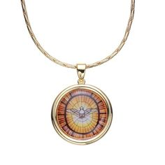 """18"""""""""""""""" Gold Electroplated Necklace with Spirito Santo Pendant"""