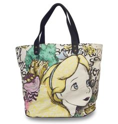 Disney Loungefly Alice In Wonderland Alice And Cheshire Canvas Tote Bag  #Loungefly #ToteBag