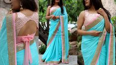 Blue to Pink. Stunning blue color designer saree and blush pink color designer blouse.Price 5200 RsKindly write to varunigopen@gmail.comwhats app on 9121017226 01 August 2018 Net Saree Blouse, Saree Blouse Patterns, Designer Blouse Patterns, Saree Blouse Designs, Floral Prom Dresses, Lehnga Dress, Plain Saree, Stylish Blouse Design, Fancy Sarees