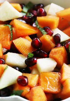 Persimmon Pomegranate Fruit Salad ~ Persimmon salad with fuyu persimmons, pomegranate seeds, chopped apple, lemon, honey, and mint. ~ SimplyRecipes.com