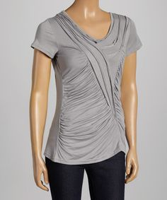 Love this Gray Gathered Scoop Neck Top - Women on #zulily! #zulilyfinds http://ricochetranch.dressingyourtruth.com