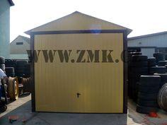 Plechová garáž 3 x 5 m ( sedlová  střecha,výklopná vrata v barvě 1002 ) ZMK