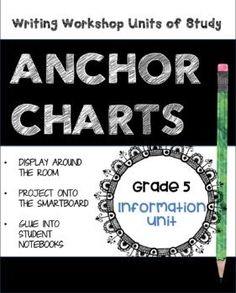 """**************CLICK ON PREVIEW TO SEE SAMPLES****************** Save time by downloading and printing these 5th Grade Writing Workshop Units of Study INFORMATION ANCHOR CHARTS! These INFORMATION ANCHOR CHARTS are designed to """"compliment"""" Lucy C.'s 5th Grade Information Writing Workshop Unit and could be displayed around the room as instructional aids, or"""