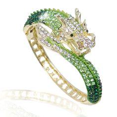 Green Swarovski Dragon Cuff