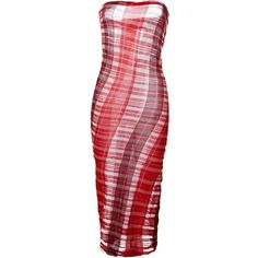 Stella McCartney fine knit strapless dress (€945) ❤ liked on Polyvore featuring dresses, платья, red, red cotton dress, cotton dress, form fitting dresses, red mid length dress and mid length dresses