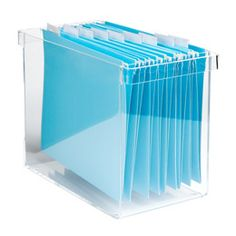 "This acrylic desktop file is great for keeping your ""Action Files"" visible on your desk or bookshelf."