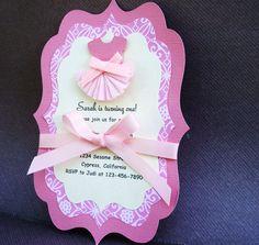 Handmade Pink Ballerina Invitation for Girl by forLittleSmiles, $23.99