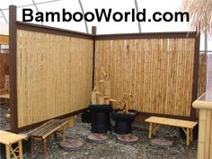Privacy fence idea - bamboo Great for around our hot tub