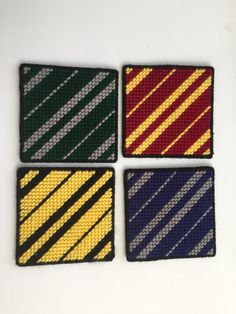 Harry Potter House Color Coasters, DIY and Crafts, Harry Potter House Color Coasters. Plastic Canvas Coasters, Plastic Canvas Tissue Boxes, Plastic Canvas Crafts, Plastic Canvas Patterns, Harry Potter House Colors, Harry Potter Decor, Harry Potter Houses, Harry Potter Canvas, Harry Potter Crochet