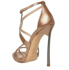 casadei sandals | Casadei 120mm Shiny Patent Blade Heel Sandals in Brown (nude)