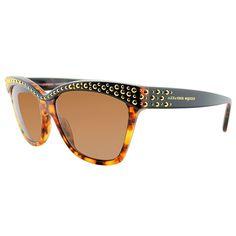 Alexander McQueen AMQ 4239 2IE 8U Havana Black Gold Cat-Eye Gradient Lens Sunglasses