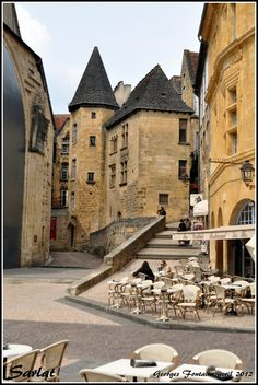Sarlat, France.Aquitaine    A medieval town with the extensive historic centre containing innumerable impressive medieval buildings and monuments. Home of Foie Gras and Confit OMG the food is incredible