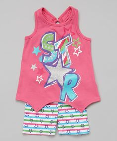 Loving this Young Hearts Pink 'Star' Sidetail Tank & Shorts - Girls on #zulily! #zulilyfinds