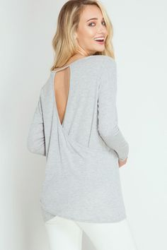 Grey Open Back Ribbed Top