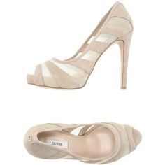 Guess Pump ($144) ❤ liked on Polyvore featuring shoes, pumps, beige, real leather shoes, open toe shoes, beige open toe pumps, cone heel shoes and leather pumps